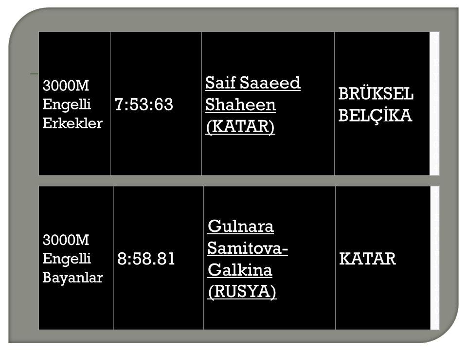 3000M Engelli Erkekler 7:53:63 Saif Saaeed Shaheen (KATAR) BRÜKSEL BELÇ İ KA 3 Eylül 20043 Eylül 2004 3000M Engelli Bayanlar 8:58.81 Gulnara Samitova- Galkina (RUSYA) KATAR 3 Eylül 20043 Eylül 2004