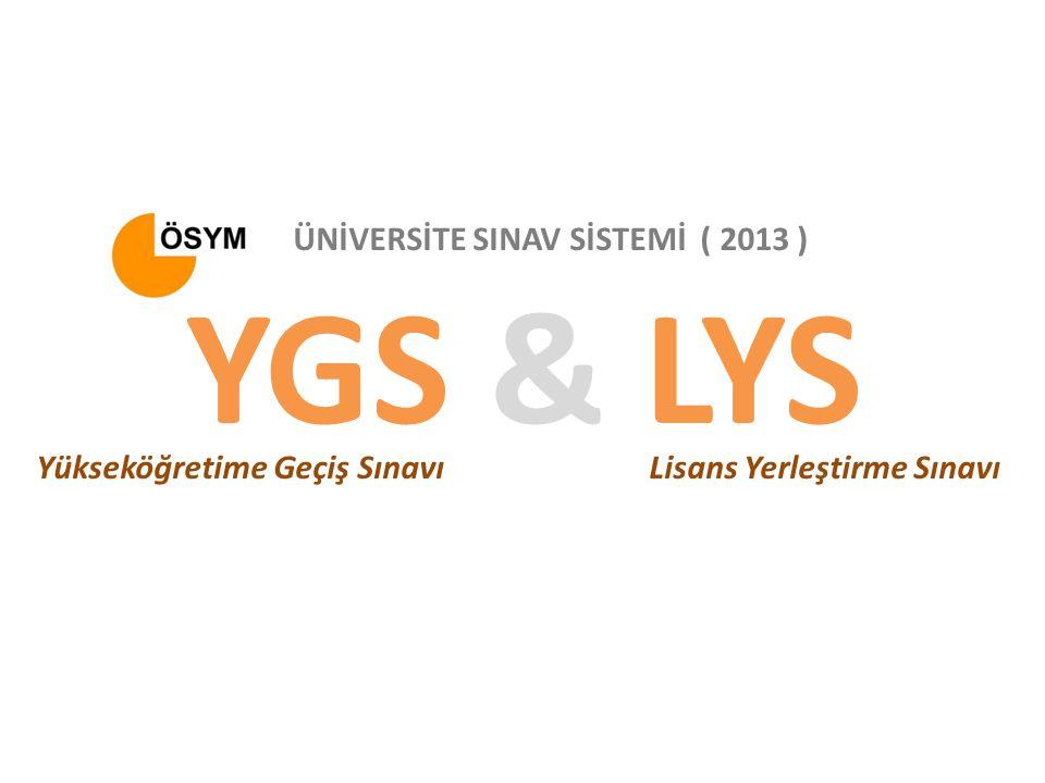 YGS & LYS Yükseköğretime Geçiş SınavıLisans Yerleştirme Sınavı ÜNİVERSİTE SINAV SİSTEMİ ( 2013 )