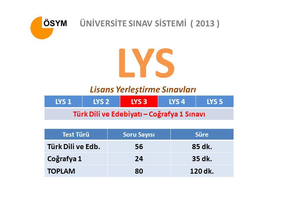 LYS Lisans Yerleştirme Sınavları ÜNİVERSİTE SINAV SİSTEMİ ( 2013 ) LYS 1LYS 2LYS 3LYS 4LYS 5 Türk Dili ve Edebiyatı – Coğrafya 1 Sınavı Test TürüSoru SayısıSüre Türk Dili ve Edb.5685 dk.