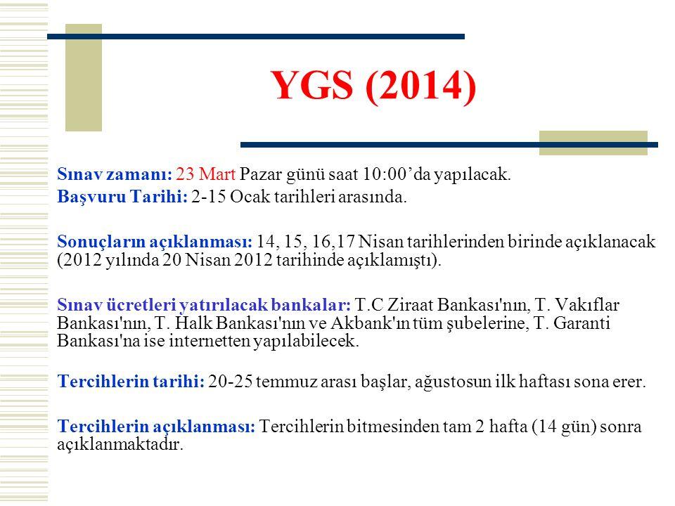YGS (2014) Sınav zamanı: 23 Mart Pazar günü saat 10:00'da yapılacak. Başvuru Tarihi: 2-15 Ocak tarihleri arasında. Sonuçların açıklanması: 14, 15, 16,