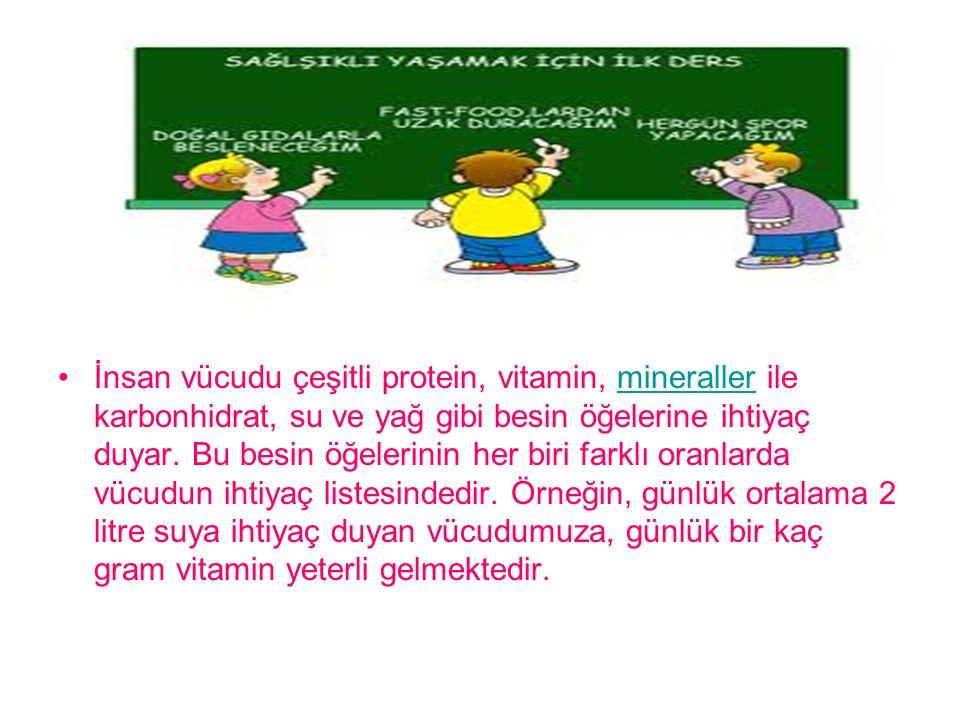 İnsan vücudu çeşitli protein, vitamin, mineraller ile karbonhidrat, su ve yağ gibi besin öğelerine ihtiyaç duyar. Bu besin öğelerinin her biri farklı