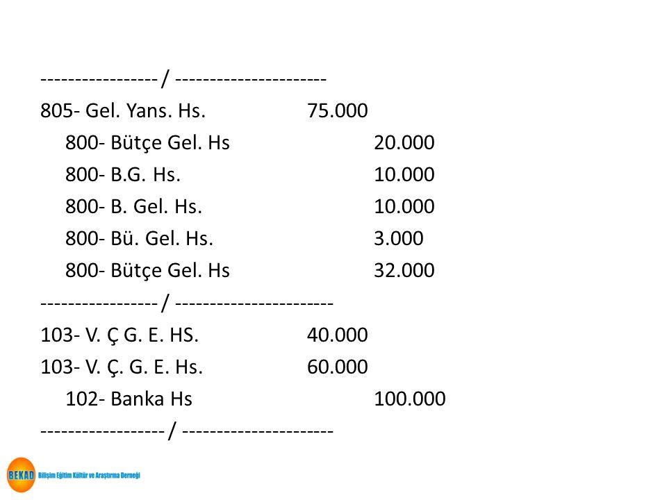 ----------------- / ---------------------- 805- Gel. Yans. Hs.75.000 800- Bütçe Gel. Hs20.000 800- B.G. Hs.10.000 800- B. Gel. Hs.10.000 800- Bü. Gel.
