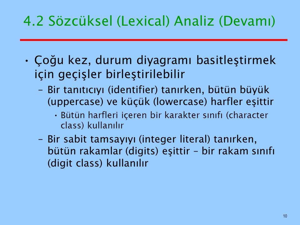 4.2 Sözcüksel (Lexical) Analiz (Devamı) Çoğu kez, durum diyagramı basitleştirmek için geçişler birleştirilebilir –Bir tanıtıcıyı (identifier) tanırken