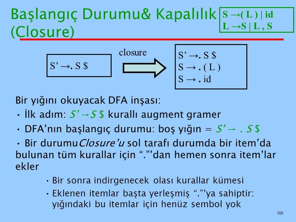 106 Başlangıç Durumu& Kapalılık (Closure) Bir yığını okuyacak DFA inşası: İlk adım: S' →S $ kurallı augment gramer DFA'nın başlangıç durumu: boş yığın