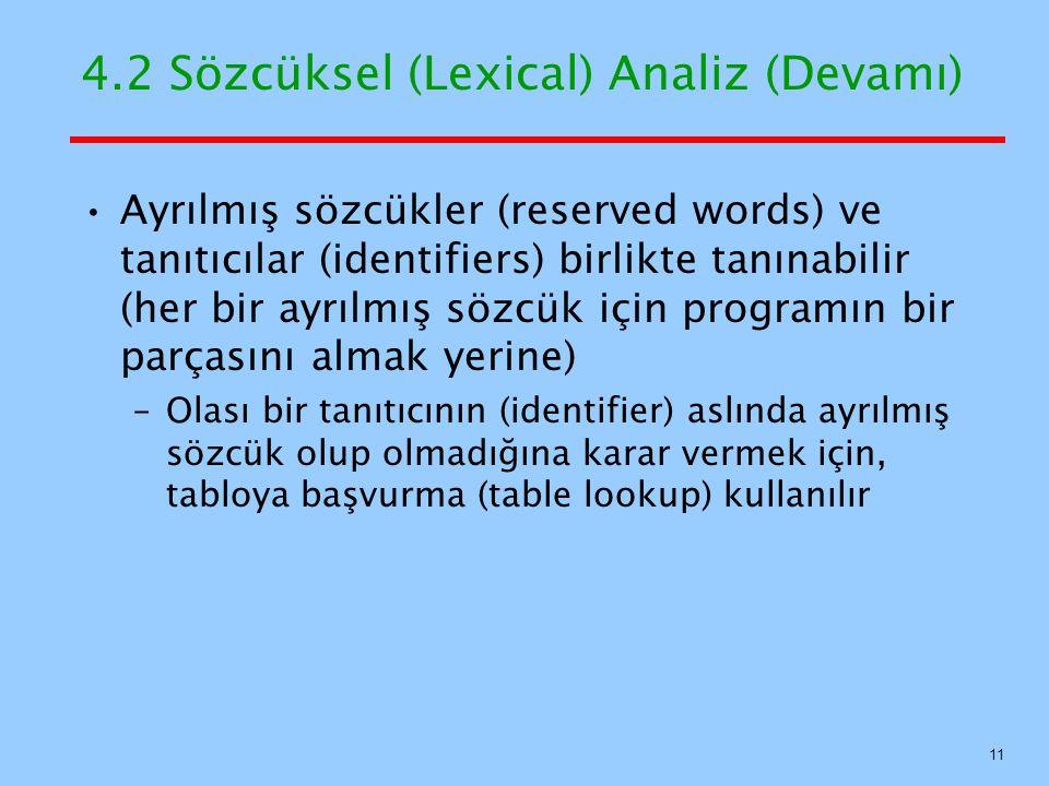 4.2 Sözcüksel (Lexical) Analiz (Devamı) Ayrılmış sözcükler (reserved words) ve tanıtıcılar (identifiers) birlikte tanınabilir (her bir ayrılmış sözcük