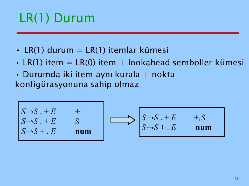 126 LR(1) Durum LR(1) durum = LR(1) itemlar kümesi LR(1) item = LR(0) item + lookahead semboller kümesi Durumda iki item aynı kurala + nokta konfigüra