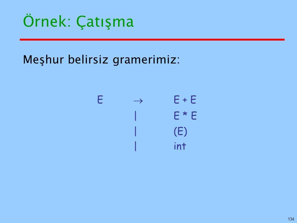 134 Örnek: Çatışma Meşhur belirsiz gramerimiz: E  E + E  E * E  (E)  int