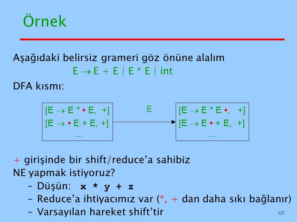 137 Örnek Aşağıdaki belirsiz grameri göz önüne alalım E  E + E   E * E   int DFA kısmı: + girişinde bir shift/reduce'a sahibiz NE yapmak istiyoruz?