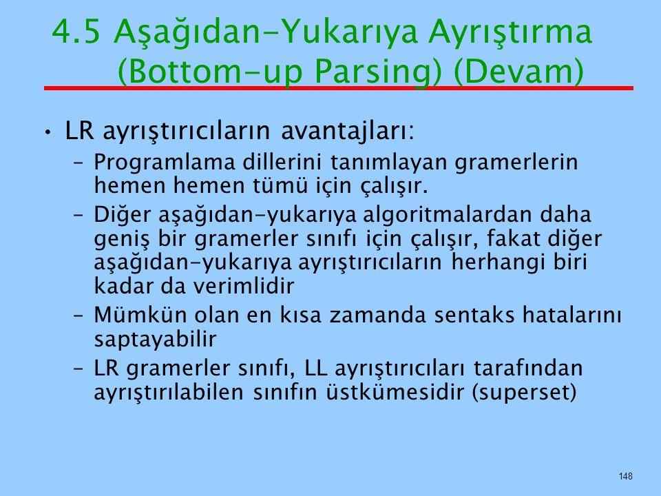 4.5 Aşağıdan-Yukarıya Ayrıştırma (Bottom-up Parsing) (Devam) LR ayrıştırıcıların avantajları: –Programlama dillerini tanımlayan gramerlerin hemen heme
