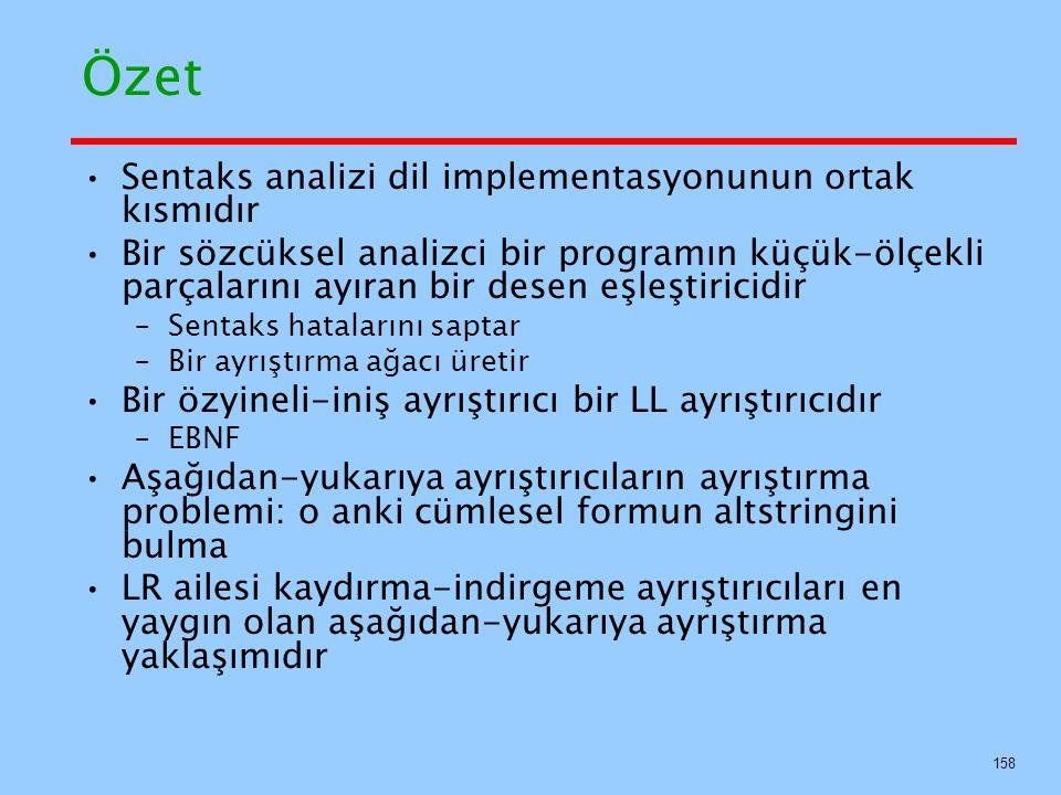 Özet Sentaks analizi dil implementasyonunun ortak kısmıdır Bir sözcüksel analizci bir programın küçük-ölçekli parçalarını ayıran bir desen eşleştirici