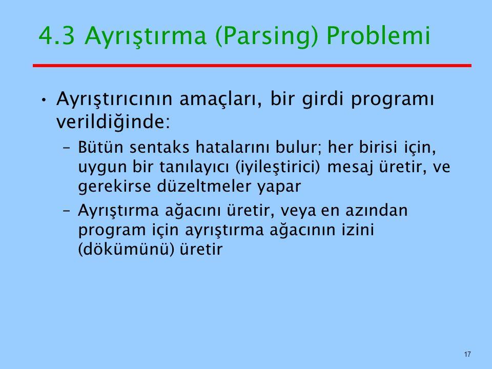 4.3 Ayrıştırma (Parsing) Problemi Ayrıştırıcının amaçları, bir girdi programı verildiğinde: –Bütün sentaks hatalarını bulur; her birisi için, uygun bi