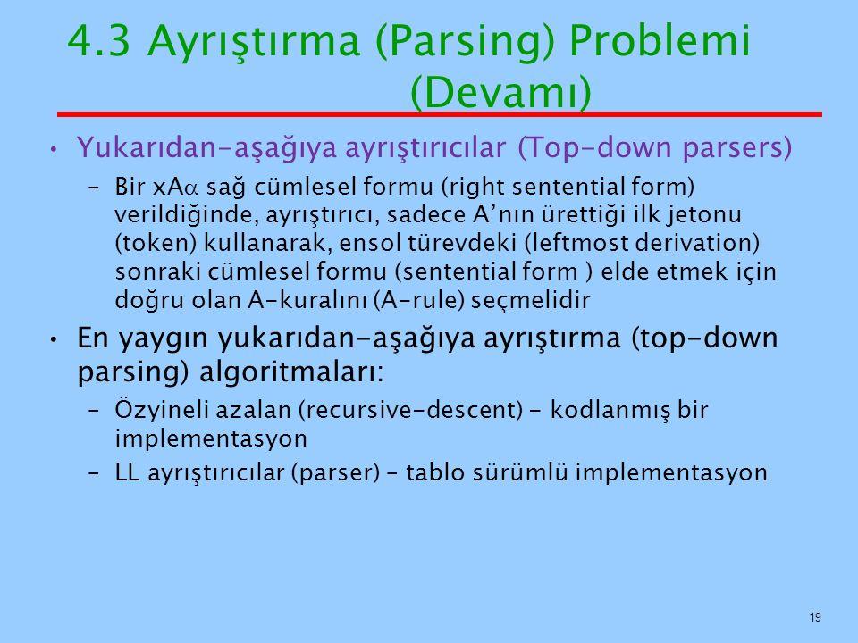 4.3 Ayrıştırma (Parsing) Problemi (Devamı) Yukarıdan-aşağıya ayrıştırıcılar (Top-down parsers) –Bir xA  sağ cümlesel formu (right sentential form) ve