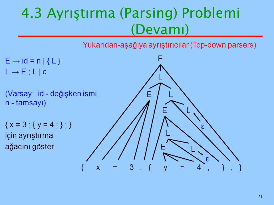 21 E → id = n   { L } L → E ; L   ε (Varsay: id - değişken ismi, n - tamsayı) { x = 3 ; { y = 4 ; } ; } için ayrıştırma ağacını göster 4.3 Ayrıştırma
