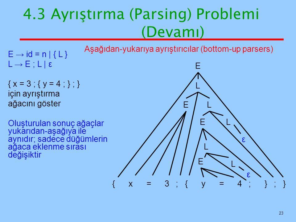23 4.3 Ayrıştırma (Parsing) Problemi (Devamı) E → id = n   { L } L → E ; L   ε { x = 3 ; { y = 4 ; } ; } için ayrıştırma ağacını göster Oluşturulan so