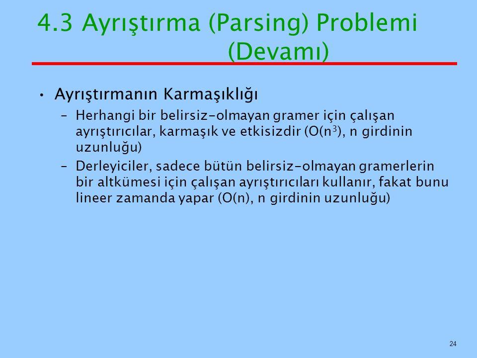 4.3 Ayrıştırma (Parsing) Problemi (Devamı) Ayrıştırmanın Karmaşıklığı –Herhangi bir belirsiz-olmayan gramer için çalışan ayrıştırıcılar, karmaşık ve e