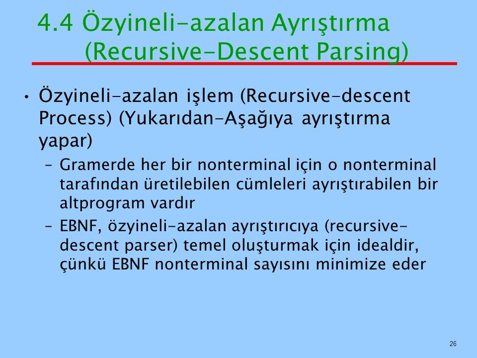 4.4 Özyineli-azalan Ayrıştırma (Recursive-Descent Parsing) Özyineli-azalan işlem (Recursive-descent Process) (Yukarıdan-Aşağıya ayrıştırma yapar) –Gra