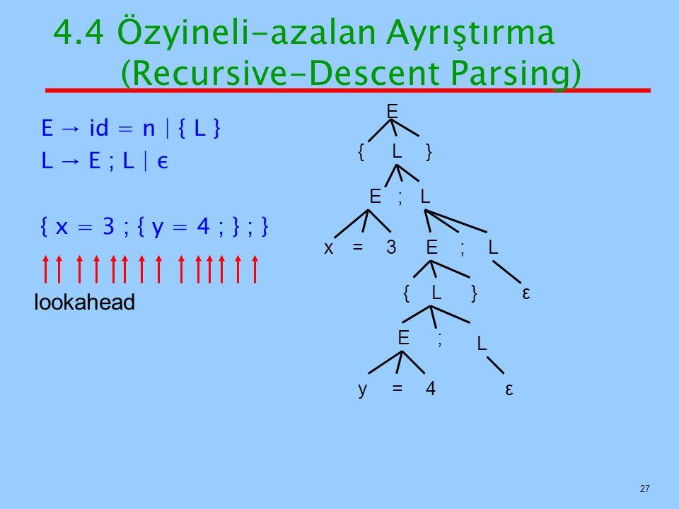 27 E → id = n   { L } L → E ; L   ε { x = 3 ; { y = 4 ; } ; } E {L} E;L x=3E;L {L} E; L y=4ε ε lookahead 4.4 Özyineli-azalan Ayrıştırma (Recursive-Des
