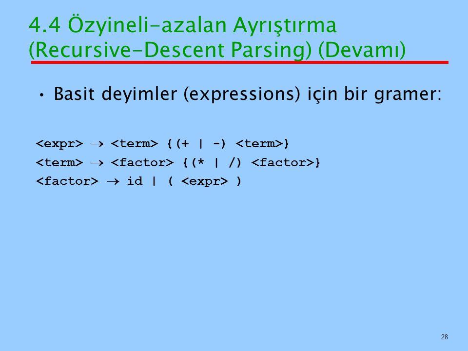 4.4 Özyineli-azalan Ayrıştırma (Recursive-Descent Parsing) (Devamı) Basit deyimler (expressions) için bir gramer:  {(+   -) }  {(*   /) }  id   ( )