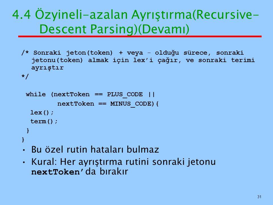 4.4 Özyineli-azalan Ayrıştırma(Recursive- Descent Parsing)(Devamı) /* Sonraki jeton(token) + veya – olduğu sürece, sonraki jetonu(token) almak için le
