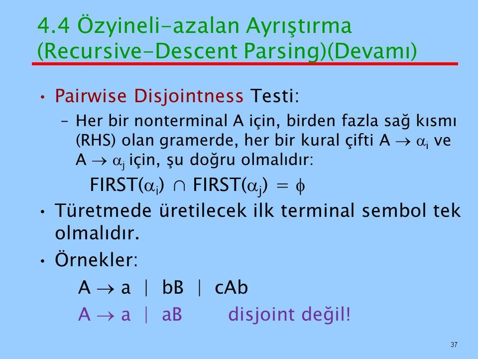 4.4 Özyineli-azalan Ayrıştırma (Recursive-Descent Parsing)(Devamı) Pairwise Disjointness Testi: –Her bir nonterminal A için, birden fazla sağ kısmı (R
