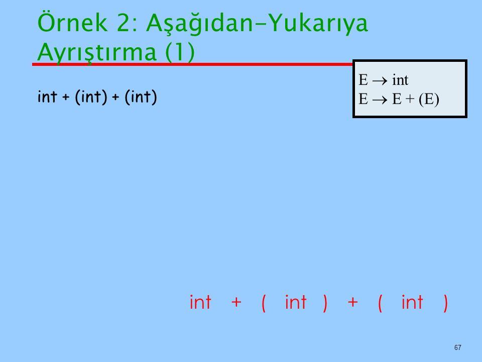 67 int++ () int + (int) + (int) () E  int E  E + (E) Örnek 2: Aşağıdan-Yukarıya Ayrıştırma (1)