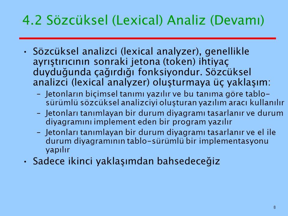 4.2 Sözcüksel (Lexical) Analiz (Devamı) Sözcüksel analizci (lexical analyzer), genellikle ayrıştırıcının sonraki jetona (token) ihtiyaç duyduğunda çağ