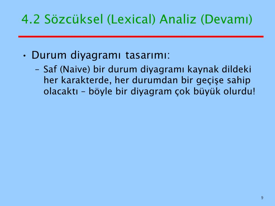 4.2 Sözcüksel (Lexical) Analiz (Devamı) Durum diyagramı tasarımı: –Saf (Naive) bir durum diyagramı kaynak dildeki her karakterde, her durumdan bir geç