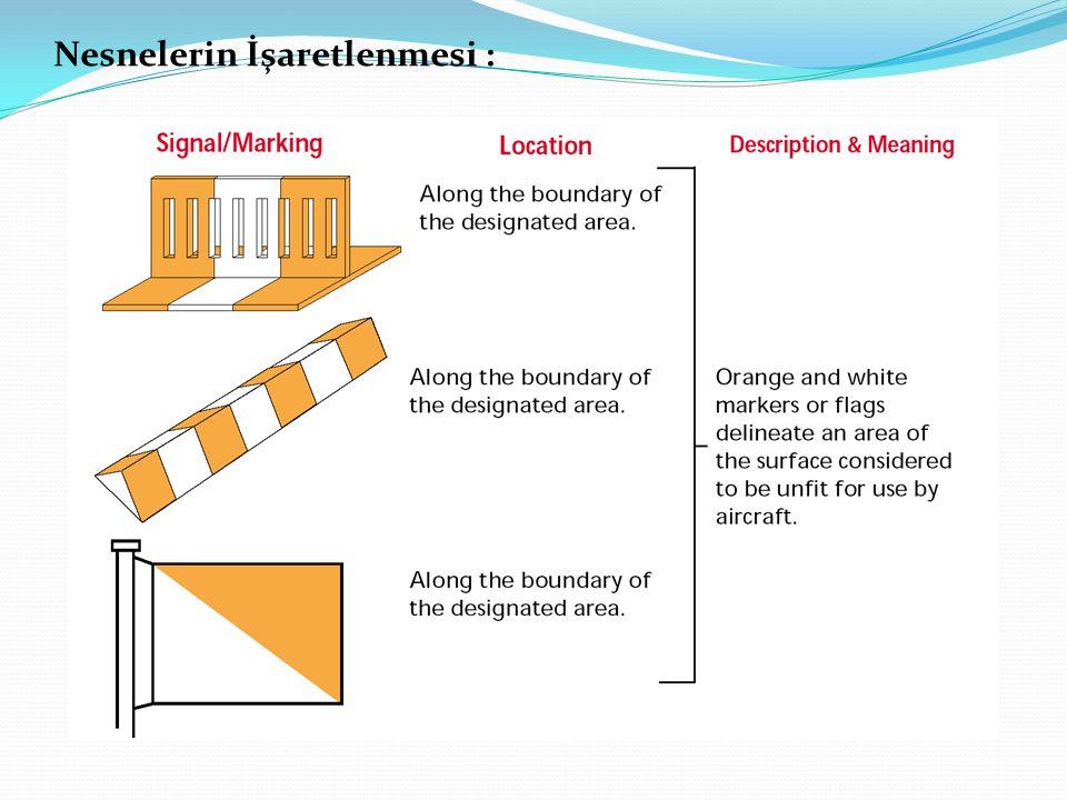 Renklerin Kullanımı :Bir nesne, her iki boyutu 4.5 metre veya daha fazla olan yatay koruma bölgesine sahip tek parça bir yüzeyin sıralı desen şeklinde renklendirilmelidir.