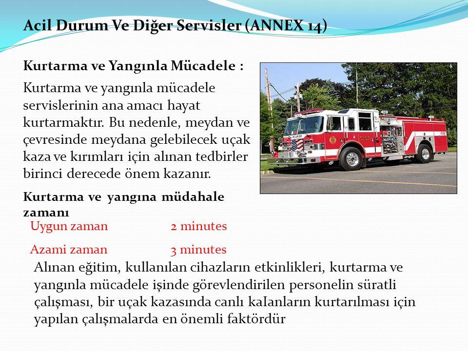 Acil Durum Ve Diğer Servisler (ANNEX 14) Kurtarma ve Yangınla Mücadele : Kurtarma ve yangınla mücadele servislerinin ana amacı hayat kurtarmaktır. Bu