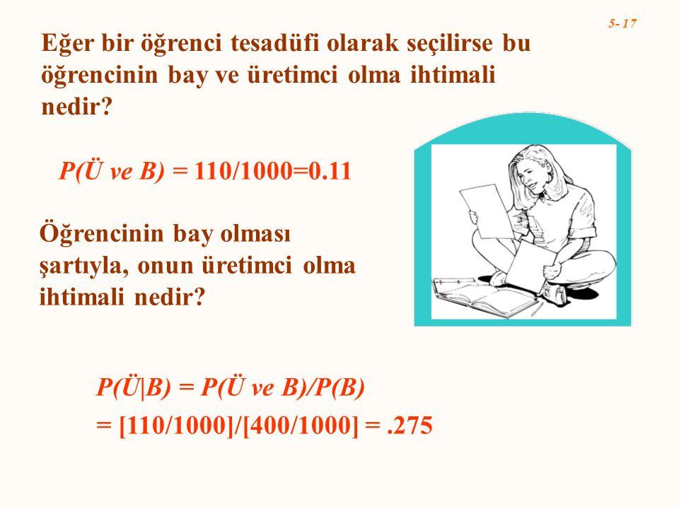 5- 17 P(Ü B) = P(Ü ve B)/P(B) = [110/1000]/[400/1000] =.275 Eğer bir öğrenci tesadüfi olarak seçilirse bu öğrencinin bay ve üretimci olma ihtimali ned