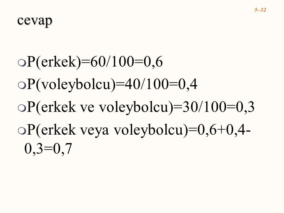 5- 32 cevap  P(erkek)=60/100=0,6  P(voleybolcu)=40/100=0,4  P(erkek ve voleybolcu)=30/100=0,3  P(erkek veya voleybolcu)=0,6+0,4- 0,3=0,7
