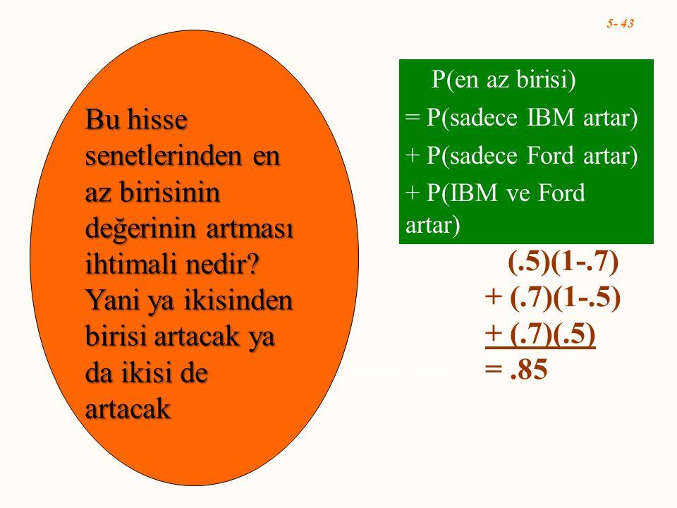 5- 43 P(en az birisi) = P(sadece IBM artar) + P(sadece Ford artar) + P(IBM ve Ford artar) (.5)(1-.7) + (.7)(1-.5) + (.7)(.5) =.85 Bu hisse senetlerind