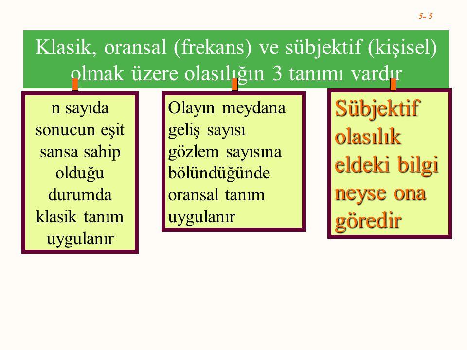 5- 5 Klasik, oransal (frekans) ve sübjektif (kişisel) olmak üzere olasılığın 3 tanımı vardır n sayıda sonucun eşit sansa sahip olduğu durumda klasik t
