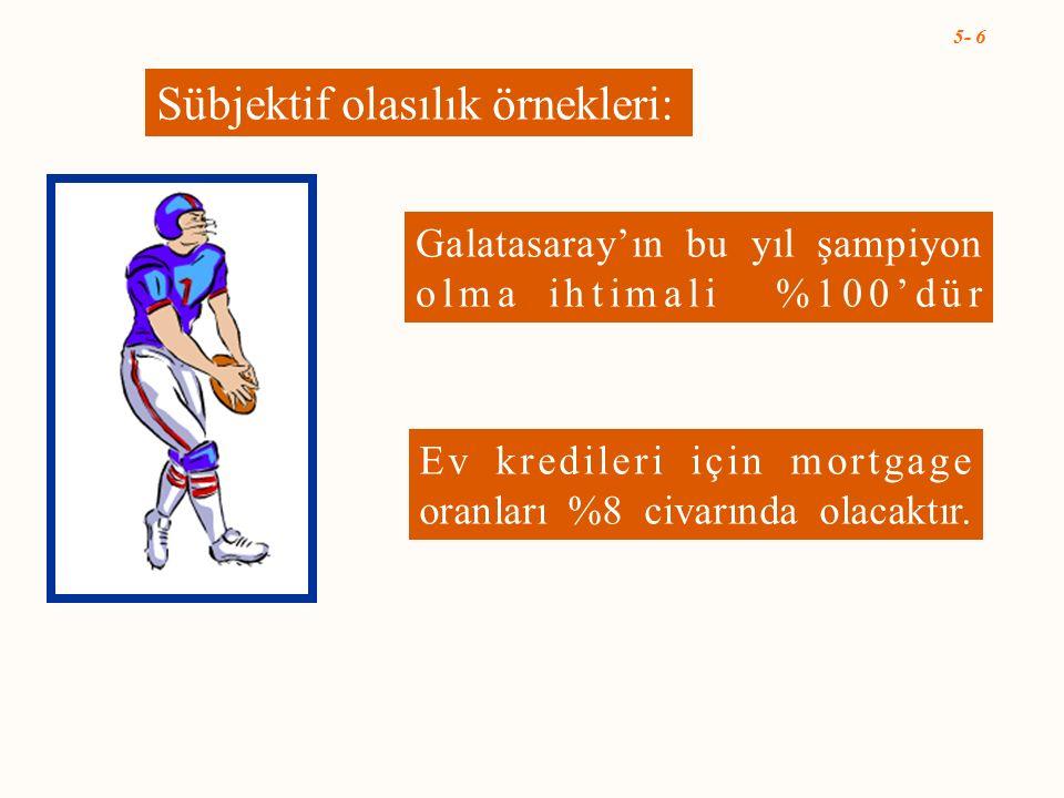5- 6 Sübjektif olasılık örnekleri: Galatasaray'ın bu yıl şampiyon olma ihtimali %100'dür Ev kredileri için mortgage oranları %8 civarında olacaktır.