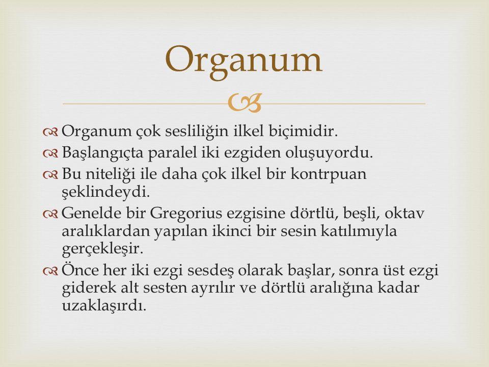   Organum çok sesliliğin ilkel biçimidir.  Başlangıçta paralel iki ezgiden oluşuyordu.  Bu niteliği ile daha çok ilkel bir kontrpuan şeklindeydi.