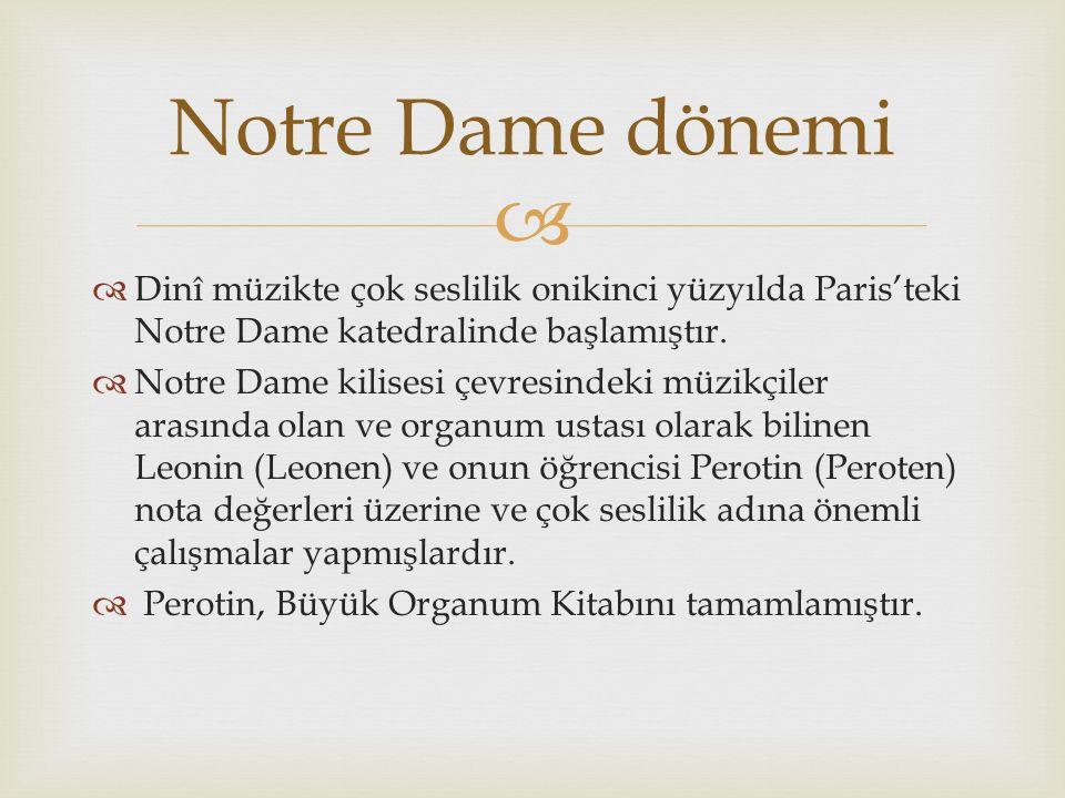   Dinî müzikte çok seslilik onikinci yüzyılda Paris'teki Notre Dame katedralinde başlamıştır.  Notre Dame kilisesi çevresindeki müzikçiler arasında