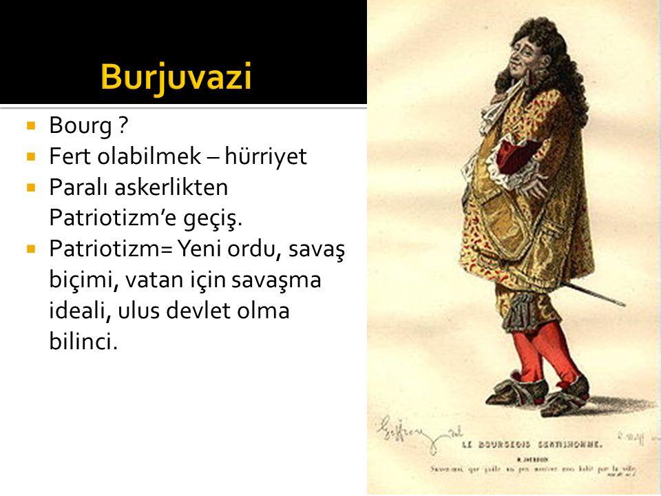  Bourg ?  Fert olabilmek – hürriyet  Paralı askerlikten Patriotizm'e geçiş.  Patriotizm= Yeni ordu, savaş biçimi, vatan için savaşma ideali, ulus
