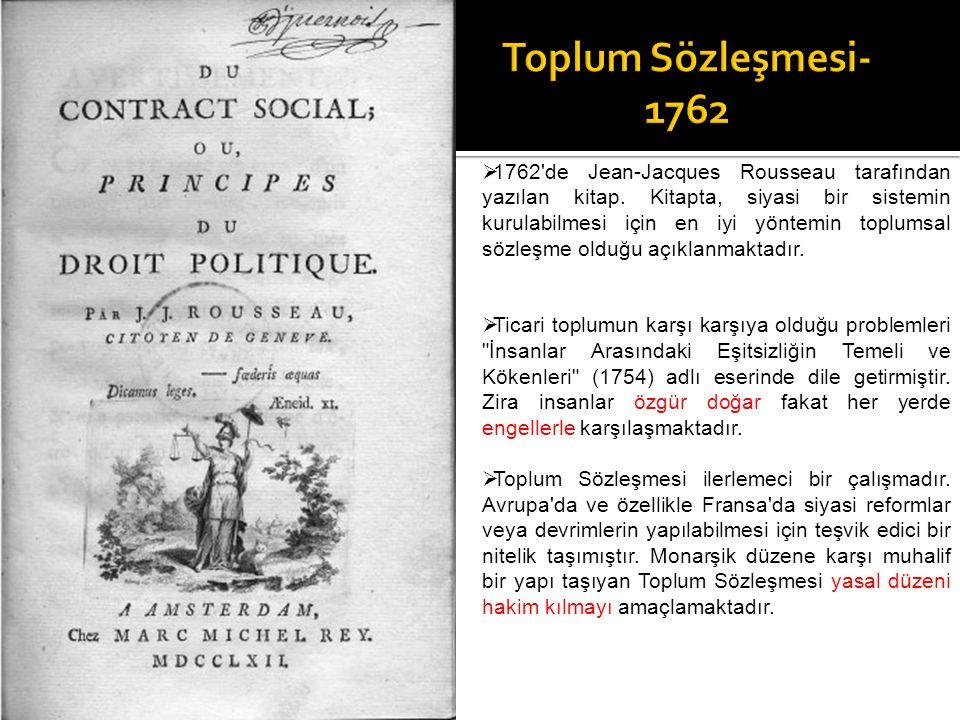  1762'de Jean-Jacques Rousseau tarafından yazılan kitap. Kitapta, siyasi bir sistemin kurulabilmesi için en iyi yöntemin toplumsal sözleşme olduğu aç
