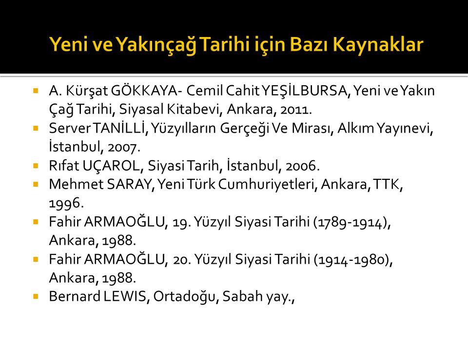  Avrupa Tarihi, (Ed.Mehmet KAYIRAN), Eskişehir, 1991.