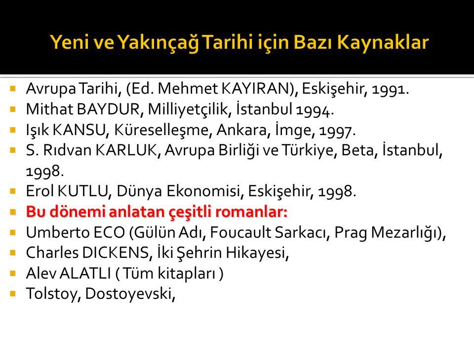  Avrupa Tarihi, (Ed. Mehmet KAYIRAN), Eskişehir, 1991.  Mithat BAYDUR, Milliyetçilik, İstanbul 1994.  Işık KANSU, Küreselleşme, Ankara, İmge, 1997.