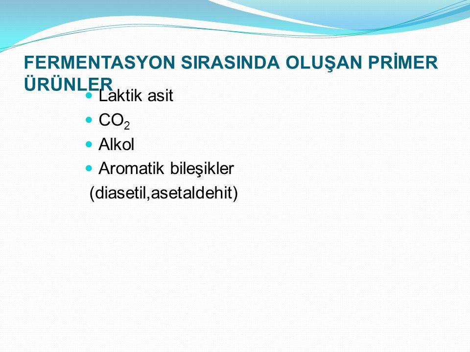FERMENTASYON SIRASINDA OLUŞAN PRİMER ÜRÜNLER Laktik asit CO 2 Alkol Aromatik bileşikler (diasetil,asetaldehit)