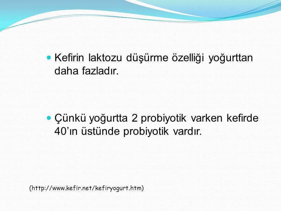 Kefirin laktozu düşürme özelliği yoğurttan daha fazladır. Çünkü yoğurtta 2 probiyotik varken kefirde 40'ın üstünde probiyotik vardır. (http://www.kefi