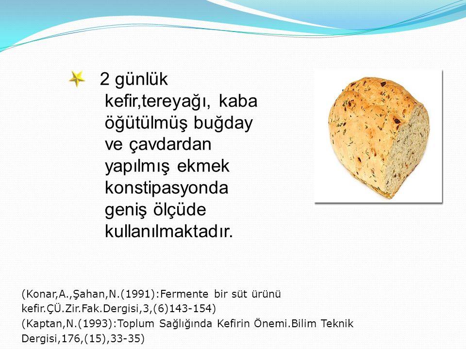 2 günlük kefir,tereyağı, kaba öğütülmüş buğday ve çavdardan yapılmış ekmek konstipasyonda geniş ölçüde kullanılmaktadır. (Konar,A.,Şahan,N.(1991):Ferm