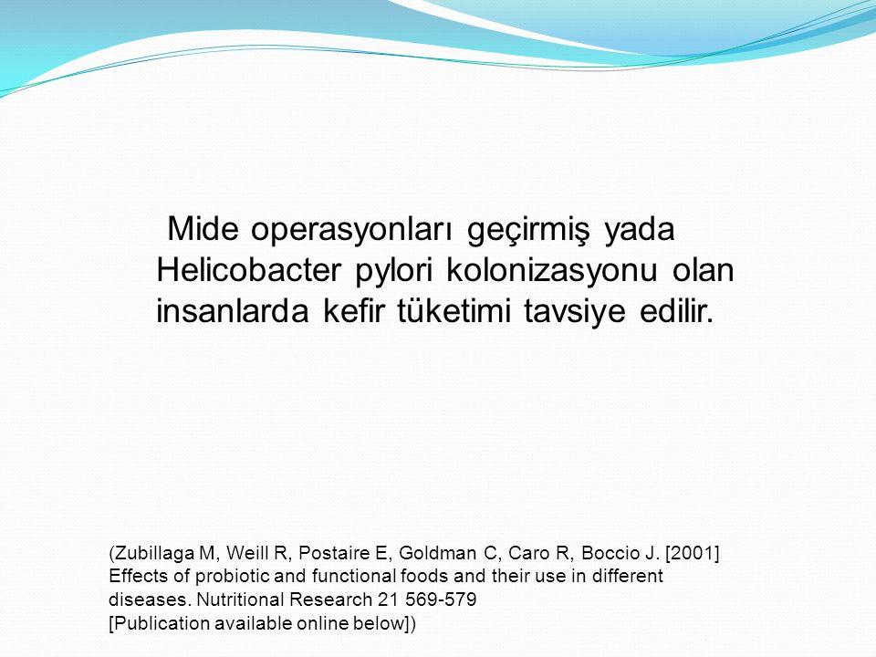 Mide operasyonları geçirmiş yada Helicobacter pylori kolonizasyonu olan insanlarda kefir tüketimi tavsiye edilir. (Zubillaga M, Weill R, Postaire E, G