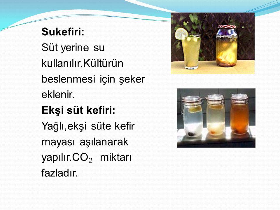 Sukefiri: Süt yerine su kullanılır.Kültürün beslenmesi için şeker eklenir. Ekşi süt kefiri: Yağlı,ekşi süte kefir mayası aşılanarak yapılır.CO 2 mikta
