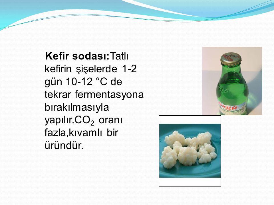 Kefir sodası:Tatlı kefirin şişelerde 1-2 gün 10-12 °C de tekrar fermentasyona bırakılmasıyla yapılır.CO 2 oranı fazla,kıvamlı bir üründür.