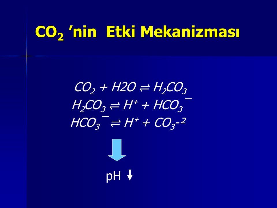 CO 2 'nin Etki Mekanizması CO 2 + H2O ⇌ H 2 CO 3 H 2 CO 3 ⇌ H ⁺ + HCO 3 ¯ HCO 3 ¯ ⇌ H ⁺ + CO 3 -² pH