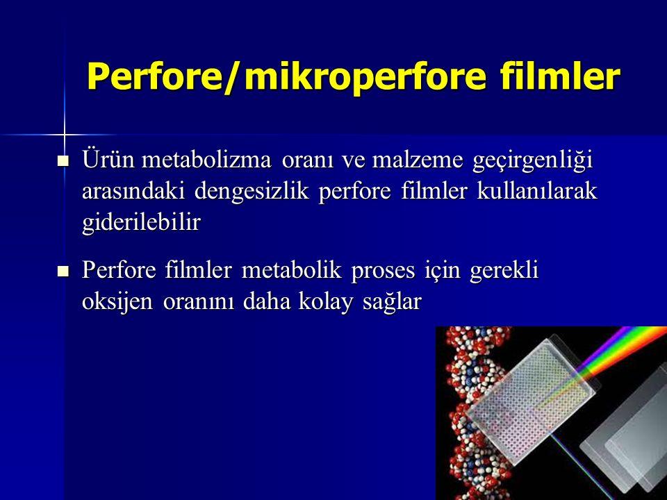 Perfore/mikroperfore filmler Ürün metabolizma oranı ve malzeme geçirgenliği arasındaki dengesizlik perfore filmler kullanılarak giderilebilir Ürün met