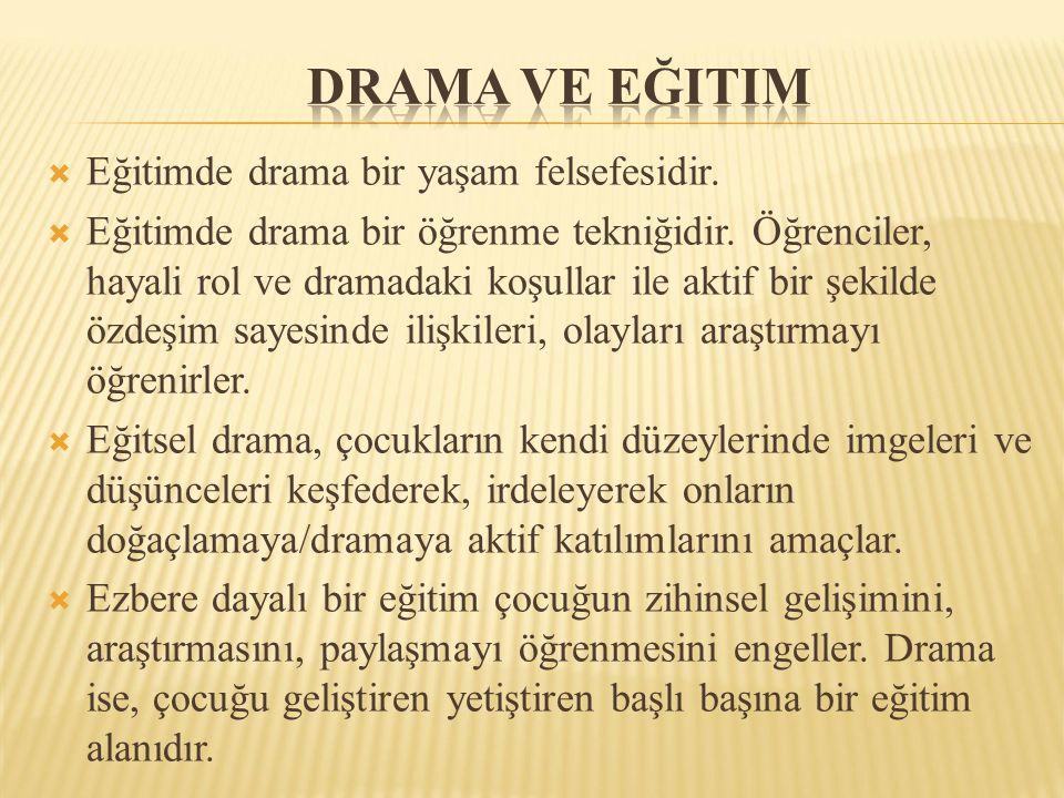  Eğitimde drama bir yaşam felsefesidir.  Eğitimde drama bir öğrenme tekniğidir.