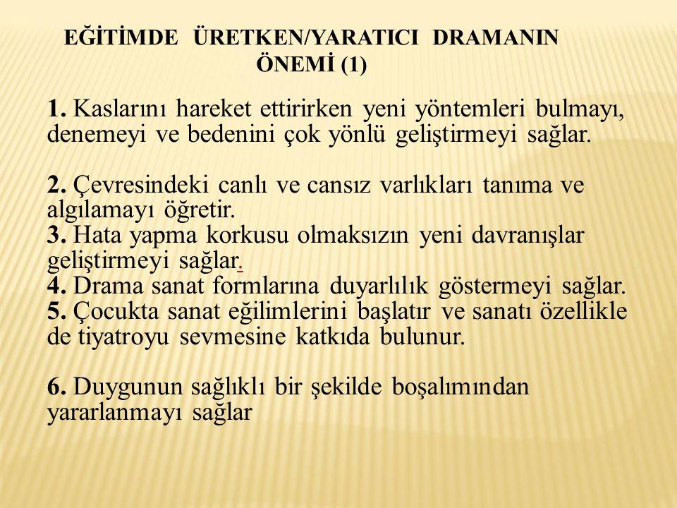 EĞİTİMDE ÜRETKEN/YARATICI DRAMANIN ÖNEMİ (1) 1.
